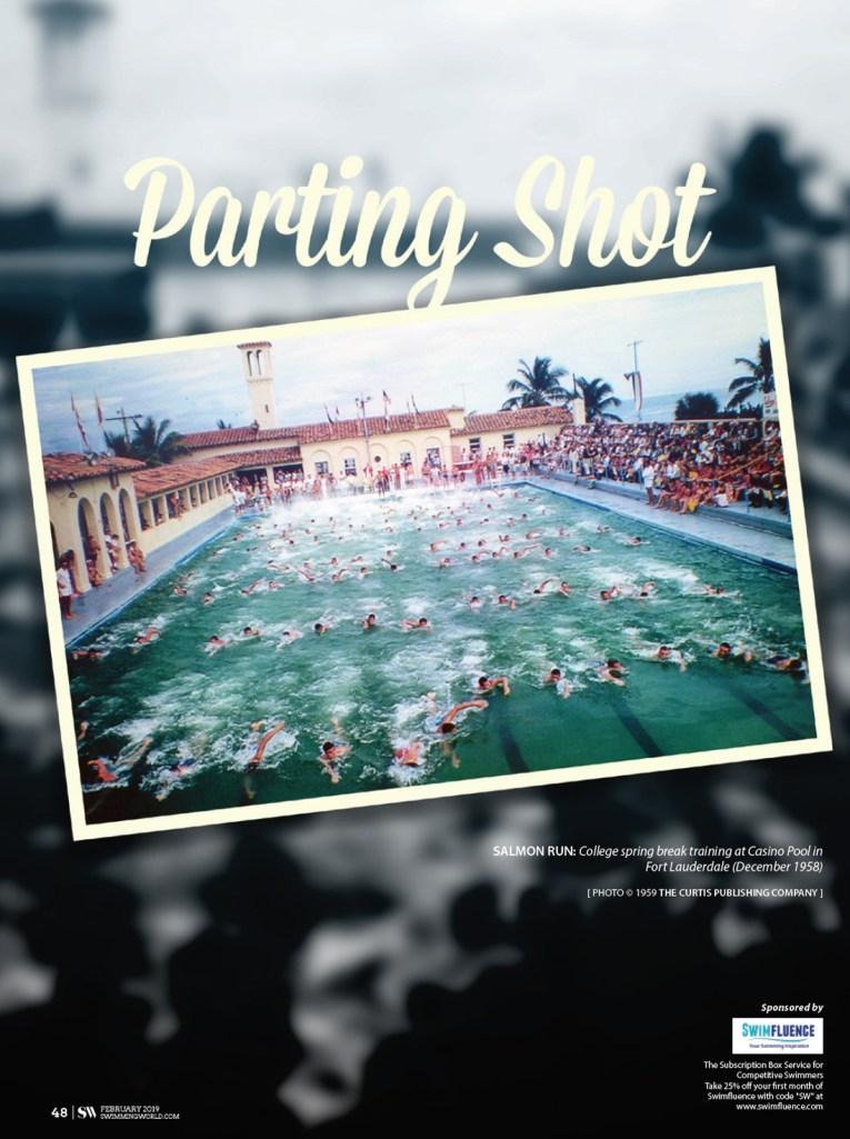 Swimming World Magazine - Parting Shot March 2019 - Salmon Run - Spring Break at the Fort Lauderdale Casino Pool 1958