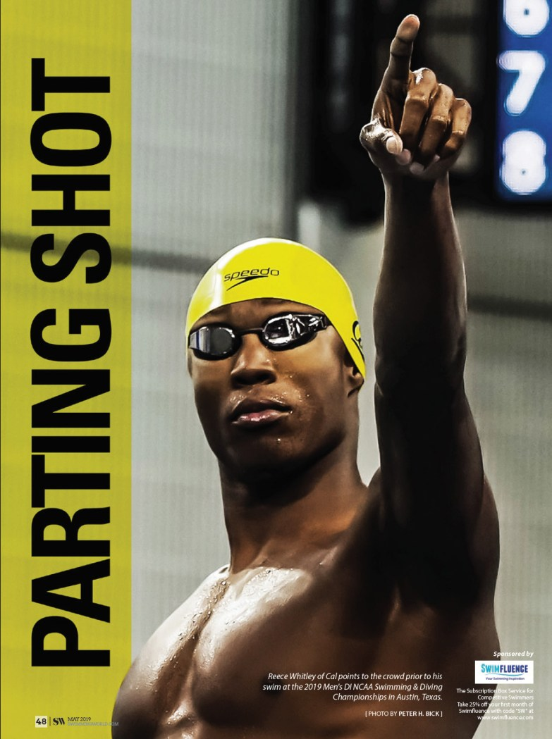 Swimming World Magazine - Parting Shot May 2019 Reece Whitley of Cal Golden Bears