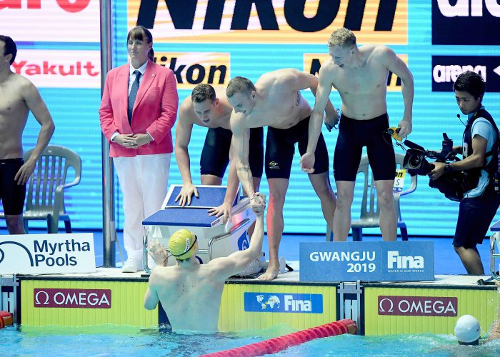Relay Team AUS, Mens 4x200m Freestyle Final, 18th FINA World Swimming Championships 2019, 26 July 2019, Gwangju South Korea. Pic by Delly Carr/Swimming Australia. Pic credit requested and mandatory for free editorial usage. THANK YOU.