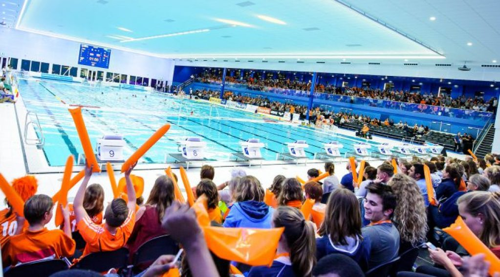 27-03-2018: Waterpolo: Vrouwen Nederland v Rusland: Rotterdam (L-R) New swimming pool Sportcentrum Rotterdam during FINA Women's waterpolo World League Match between team Netherlands and Russia in pool Sportcentrum Rotterdam FINA Women's Waterpolo World League - Season 2017 / 2018 Foto / Photo: Gertjan Kooij