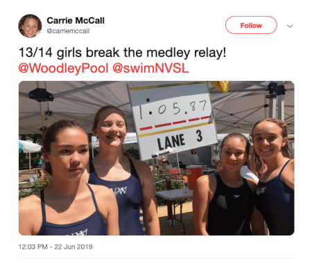 Woodley 13-14 Relay Record