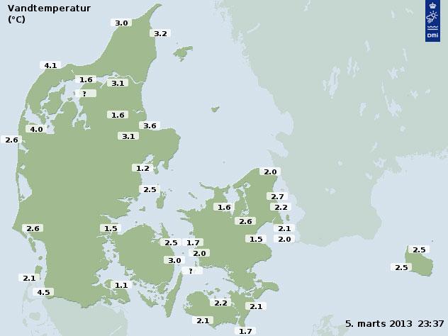 Vandtemperaturer i og omkring Danmark 5. marts 2013