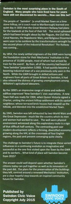 Back of surprising Swindon leaflet writing on it
