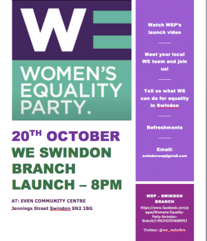 image of poster for women's equality party - launch party in Swindon