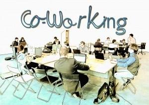 image people sat around desks working
