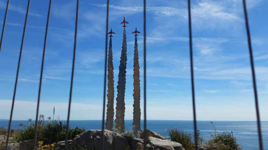 Red arrows sculpture in Bournemouth