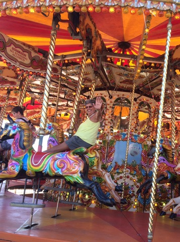 Born again Swindonian goes crazy on a carousel