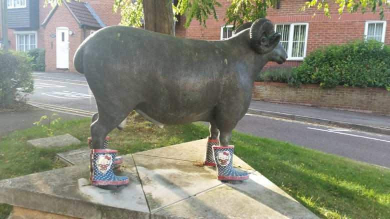 ram sculpture wearing wellies - ram sculpture in swindon