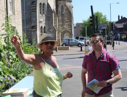 Swindon Civic Day -Angela Atkinson talks to visitor at Swindon Civic day 2017