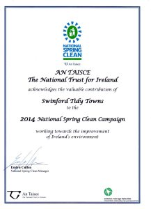 Swinford tidy towns 2014 spring clean certificate