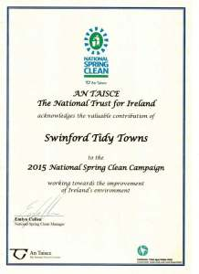 2015 National Spring Clean Cert Swinford Tidy Towns