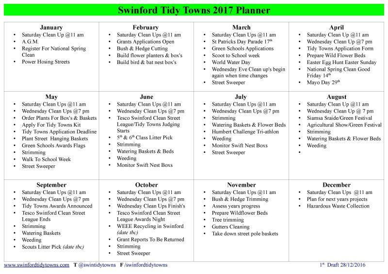 swinford tidy towns 2017 planner
