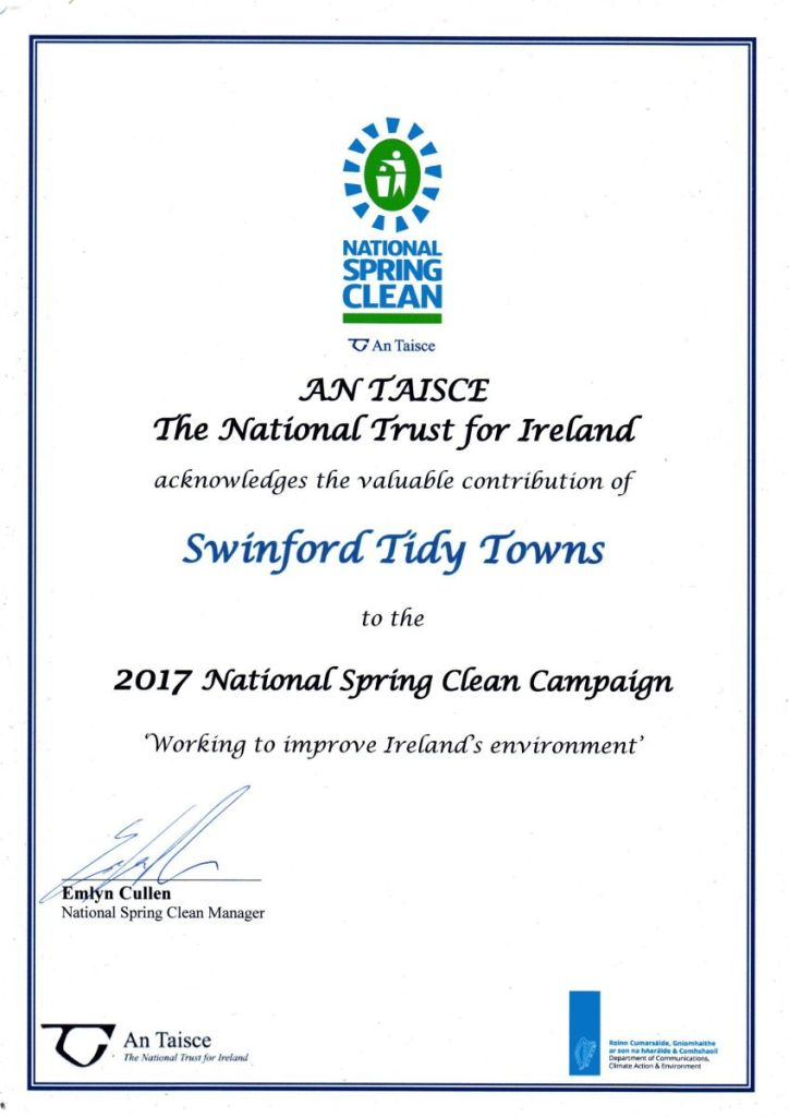 Swinford 2017 national spring clean certificate
