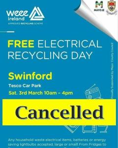 weee collection in Swinford cancelled