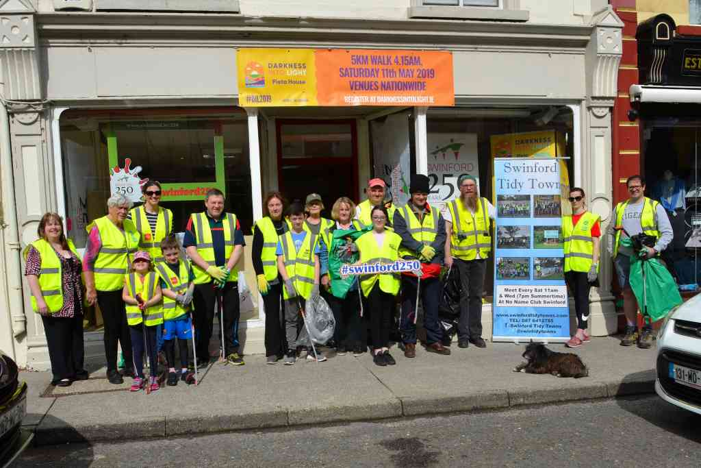 Volunteers at the annual Swinford tidy towns national spring clean 2019