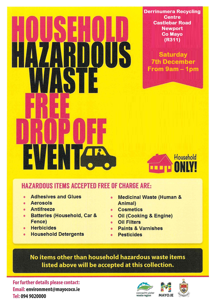 free household hazardous waste collection event 7th Dec poster