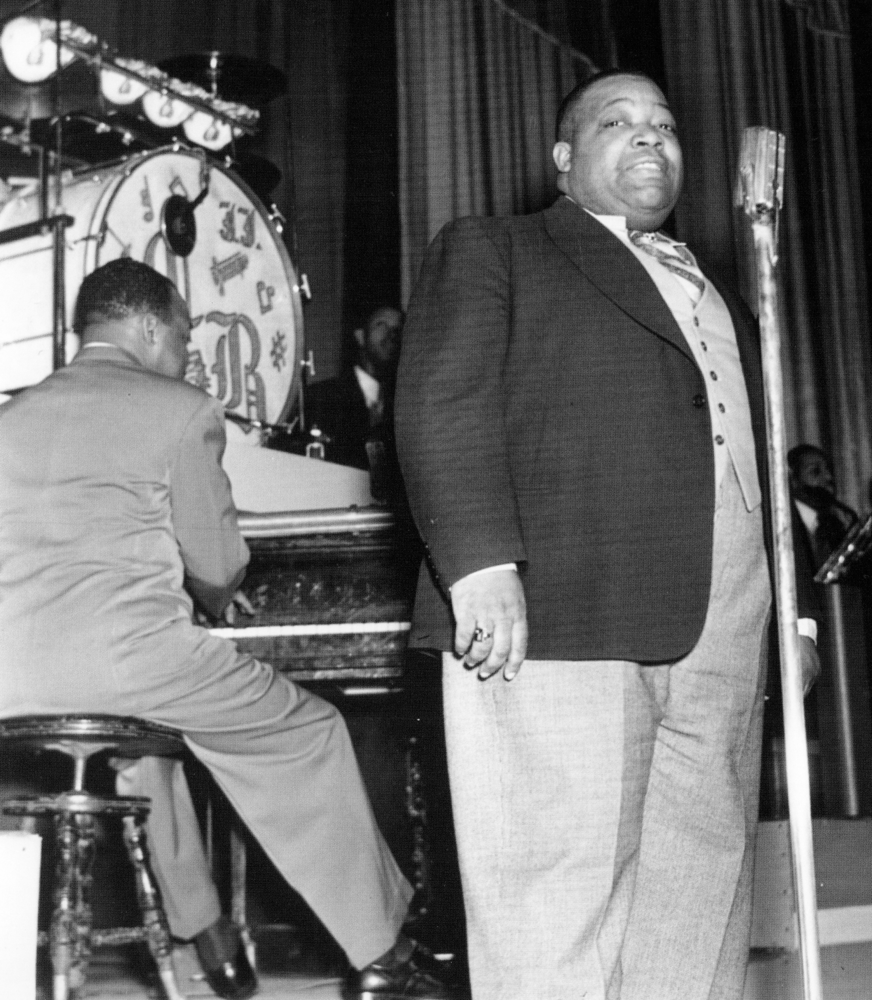 Count Basie and Jimmy Rushing, the original Mr. Five-by-Five, at the Apollo Theater - early 1939.