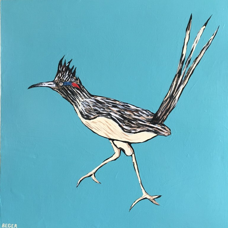 Painting of a roadrunner by Will Beger in Art One Gallery - Scottsdale, Arizona.