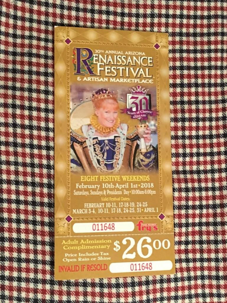 Arizona Renaissance Festival ticket