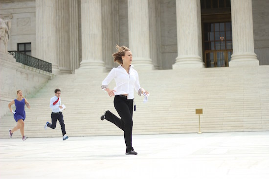 "News outlets often use staff members as ""runners"" to quickly deliver Supreme Court Decisions. SHFWire photo by Jonathan A. Capriel"