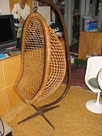Vintage Mid Century hanging Egg Chair RattanBamboo