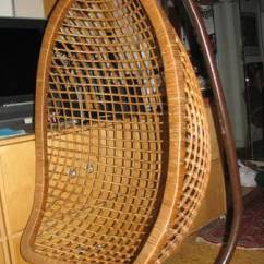 Bamboo Rattan Chair Office Customer Chairs Vintage Mid Century Hanging Egg Rattan/bamboo + Stand | Another Man's Treasure In Montreal
