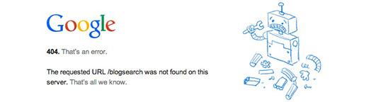 Google「ブログ検索」が消滅。遂にサービス終了か。