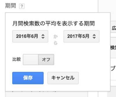 月間検索数の期間を変更
