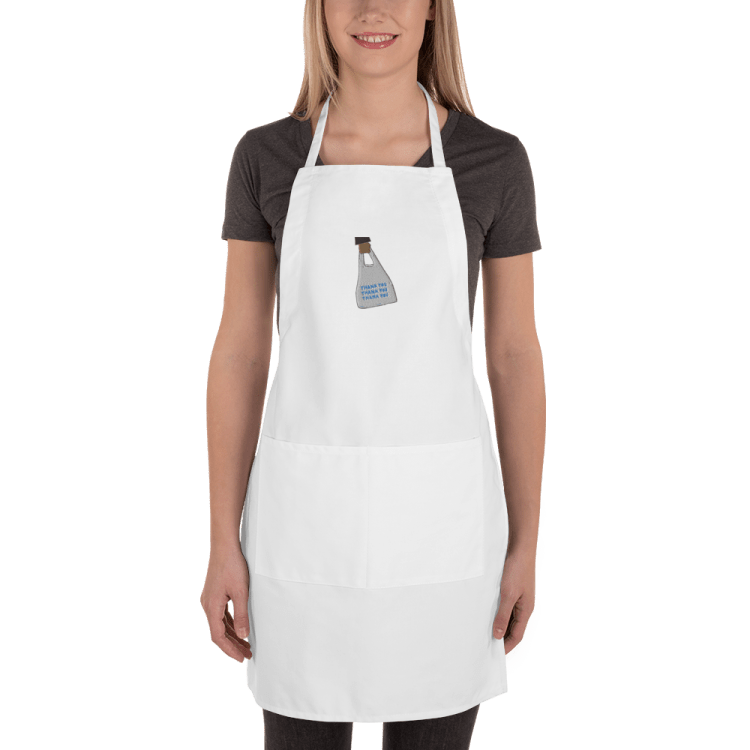 SWIPEBY to-go apron with to-go hand off design in the middle.