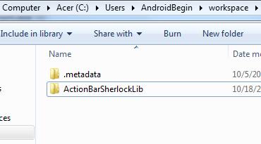 Insert ActionBarSherlock into workspace