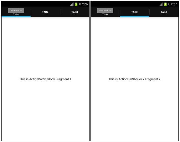 ActionBarSherlock Fragment Tabs ScreenShot