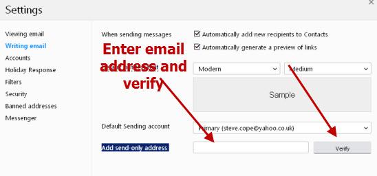 Yahoo-send-different-address