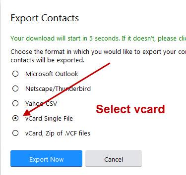 yahoo-export-vcard