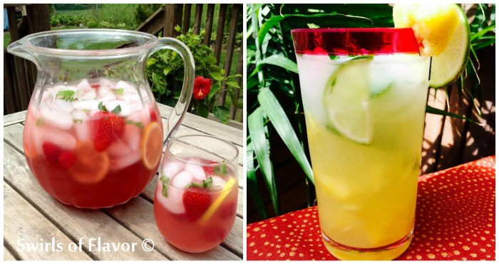 Lemonade Prosecco Punch and Pineapple Monito Punch