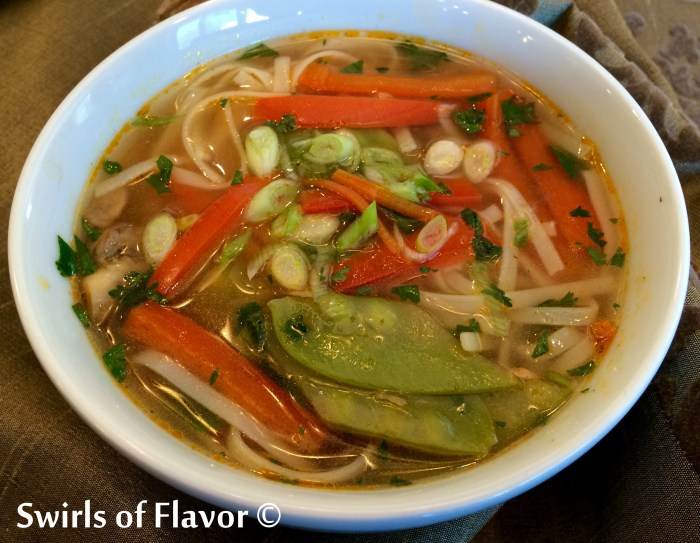 Thailand has arrived in your kitchen when you make Thai Ginger Vegetable Noodle Soup! Our vegetarian Thai noodlesoup is filled with fresh veggies, seasoned with fresh ginger, cilantro and lime, and finished with rice noodles for a Thai flavor experience!