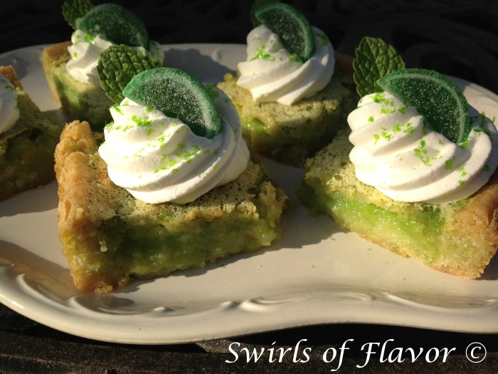 Mojito Key Lime Bars is an easy dessert recipe for those who prefer a fruity dessert that will make you pucker! All the flavors of summer and a Mojito together in a dessert bar. Even better, it's non-alcoholic so everyone can enjoy a taste!