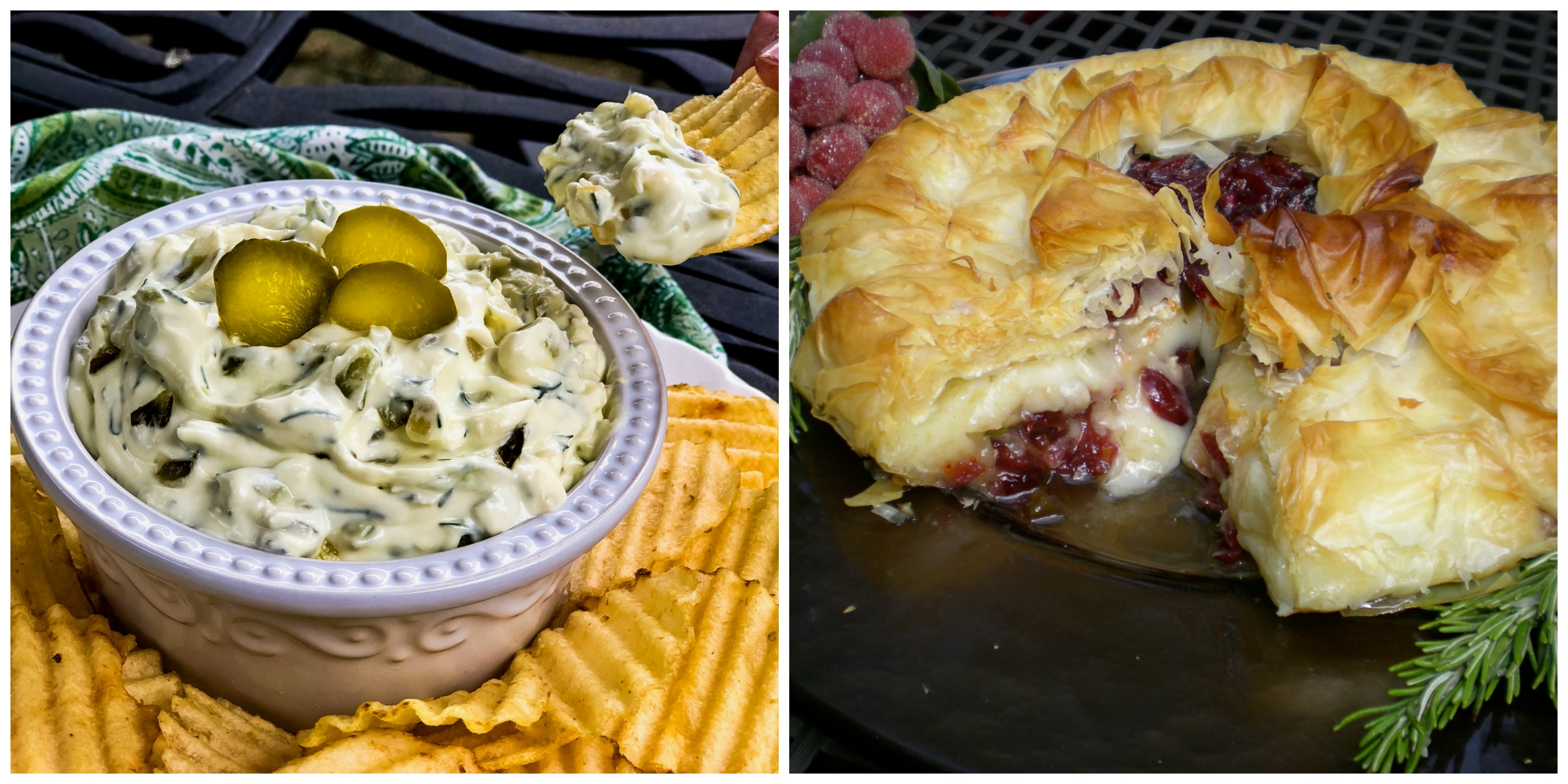 Dill Pickle Dip and Baked Brie