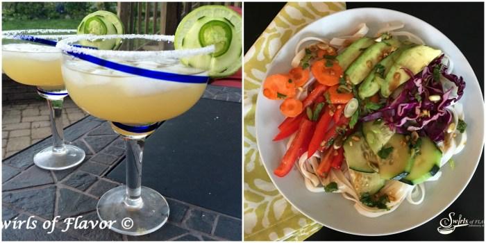 Jalapeno Cucumber Margaritas and Spring Roll Bowl