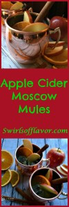 Our Apple Cider Moscow Mule cocktail recipe is a twist on this classic cocktail replacing the lime juice with seasonal apple cider and garnishing with an orange slice and a cinnamon stick stirrer! The Moscow Mule has been updated for the cool autumn weather and this trendy cocktail never tasted so good! #moscowmule #cocktail #easyrecipe #applecider #limejuice #entertaining #autumnrecipe #vodka #gingerbeer #drinks #drinkrecipe #swirlsofflavor