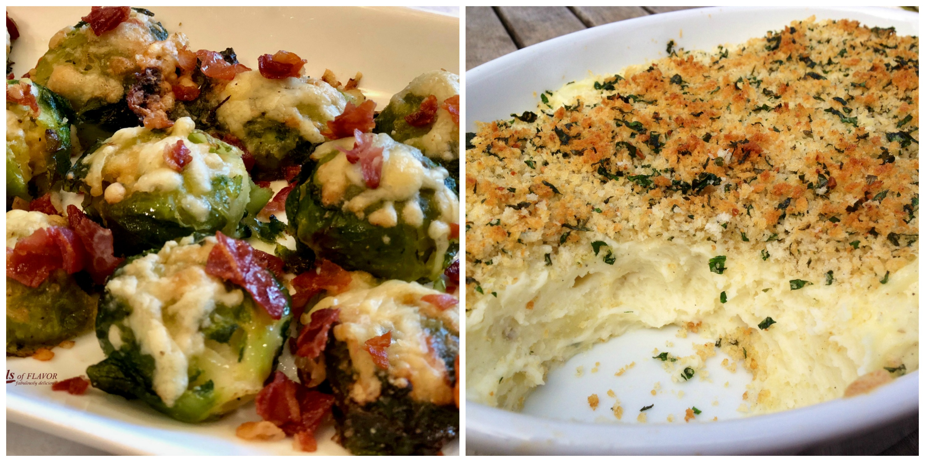 Smashed Brussels Sprouts and Panko Garlic Mashed Potatoes