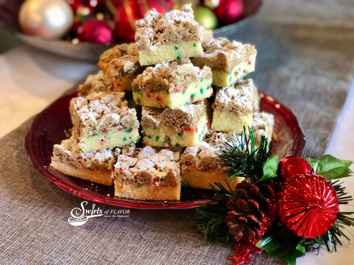 Christmas Crumb Cake with ornaments