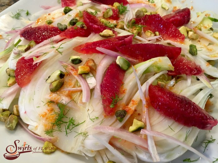 Pistachio Blood Orange & Fennel Salad is an easy salad recipe that's both refreshing and seasonal with citrus ingredients. Blood oranges flavor the citrus vinaigrette and are a bright addition to the pistachios and fennel salad.Aneasy recipefor a saladthat can also beWhole30with just one simple substitution.#salad #bloodorange #fennel #Whole30 #easyrecipe #saladrecipe #wintersalad #sidedish #swirlsofflavor