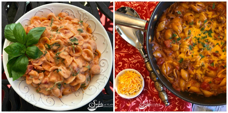Creamy Tomato Basil Pasta and Chili Mac and Cheese