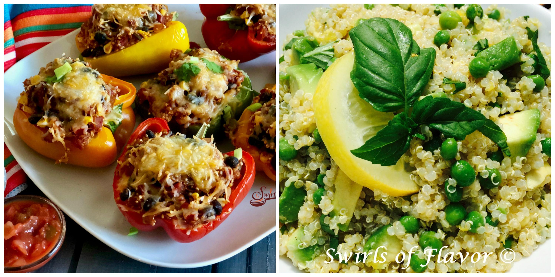 Quinoa Stuffed Peppers and Avocado Quinoa