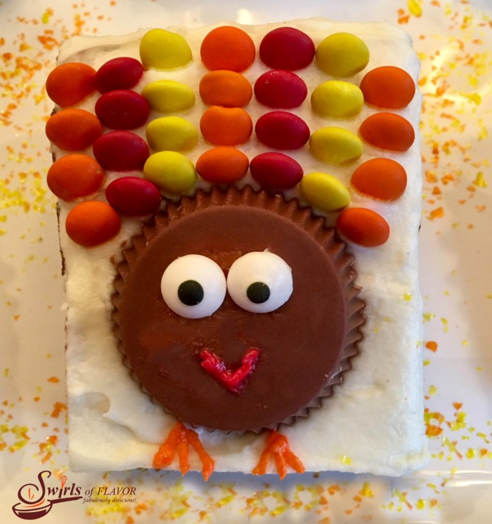 Turkey Brownies are an easy recipe for a rich fudgy homemade brownie topped with a creamy vanilla buttercream and turkeys made of candy! So much fun to make and eat! Turkey Brownies are guaranteed to become a holiday tradition!#homemadebrownies #candyturkeys #turkeybrownies #dessert #easy recipe #funforkids #holiday #Thanksgiving #swirlsofflavor