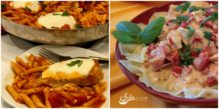 One Pot Chicken Parmesan and Pasta and Creamy Tomato Basil chicken Pasta