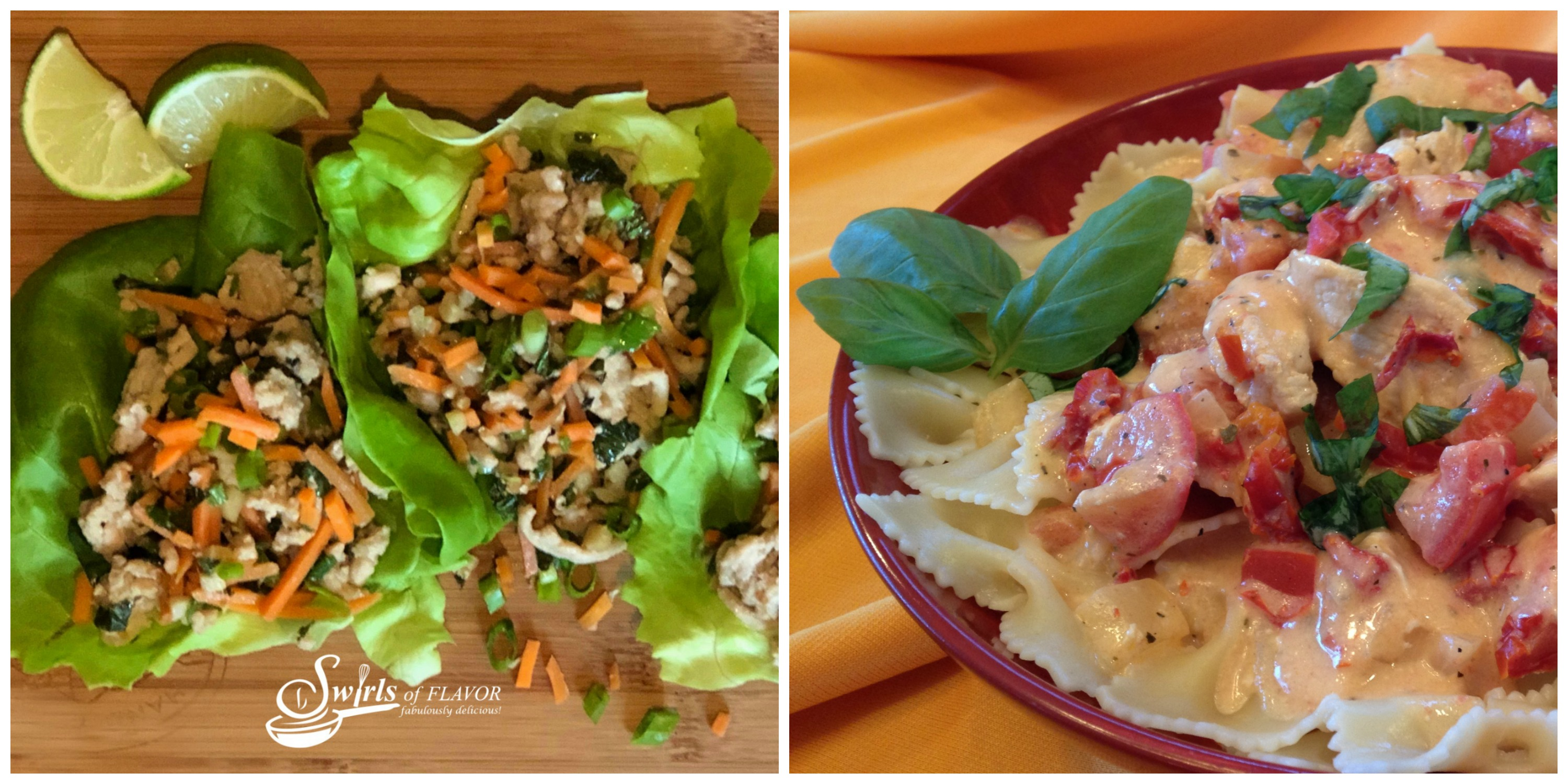 Thai Chicken Lettuce Wraps and Creamy Tomato Basil Chicken and Pasta