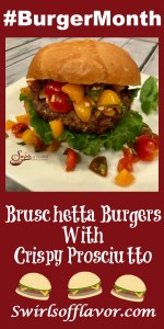 Bruschetta Burgers With Crispy Prosciutto combine ground beef with sundried tomatoes and crispy prosciutto for the most flavorful burgers! Add in a homemade Lemon Basil Aioli and top it all with a Bruschetta Topping bursting with fresh basil, extra virgin olive oil, garlic and beautiful heirloom tomatoes. for a burger recipe for weeknight dinner or entertaining. burger | prosciutto | tomatoes | heirloom tomatoes | easy recipe | grilling | barbecue | #swirlsofflavor