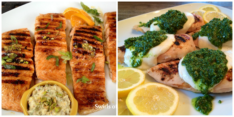 Chipotle Salmon and Kale Pesto Chicken
