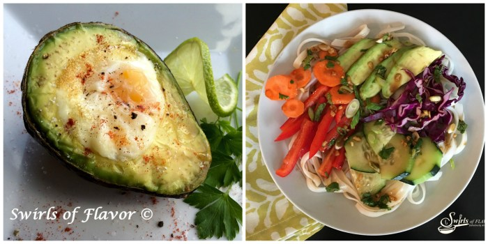 Baked Egg In Avocado and Spring Roll Bowl